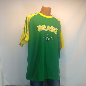 Brasil Embroidered Green and Yellow T-Shirt